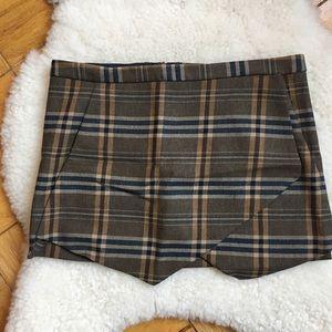 Zara Brown Plaid Skirt